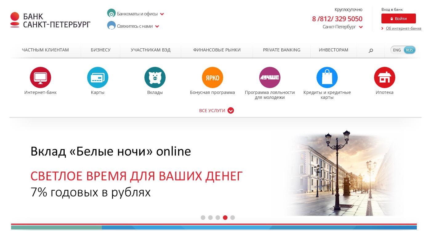 Официальный сайт Банк Санкт-Петербург